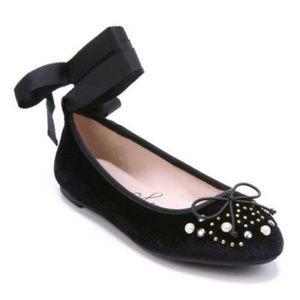 Libby Edelman Velvet Lace Up Ballet Style Flats